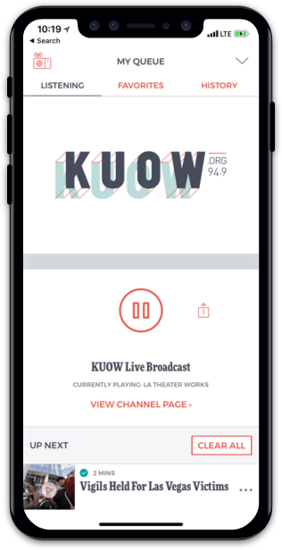 KUOW App on iPhone